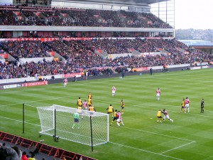 Fuller waits at the back post to flick in Delap's throw