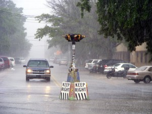 Rainy Five Points junction Riverside, Jacksonville. Keep Right is a local political instruction as much as a traffic order